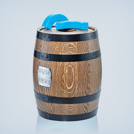 Wood barrel with two-part lid and two cooling elements