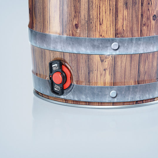 Party keg 5 litre wood look with integrated tap