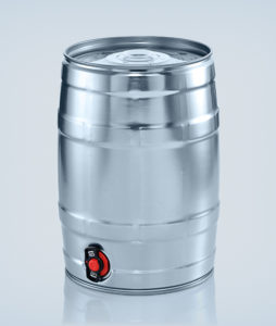 Party keg 5 litre silver with integrated tap