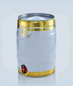 Party keg 5 litre white/gold with integrated tap